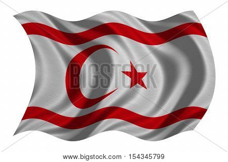 Northern Cyprus national official flag. TRNC patriotic symbol banner element background. Correct colors. Flag of Turkish Republic of Northern Cyprus wavy isolated on white textured 3D illustration
