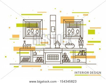 Linear flat interior design illustration of modern designer countryside house interior space with chimney shelves windows with trees. Outline vector concept of countryside house design.