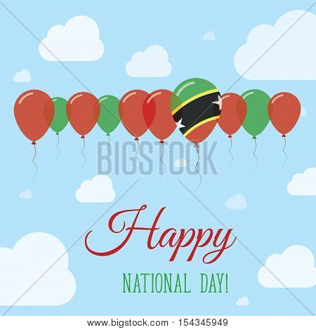 Saint Kitts And Nevis National Day Flat Patriotic Poster. Row Of Balloons In Colors Of The Kittian A