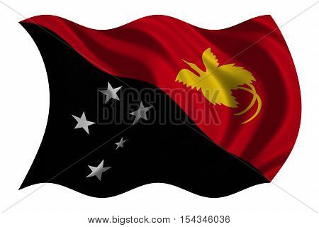 Papua New Guinean national official flag. Papuan patriotic symbol banner element background. Correct colors. Flag of Papua New Guinea wavy isolated on white detailed fabric texture 3D illustration