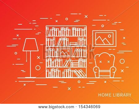 Linear flat interior design illustration of modern designer home library interior space with bookcase shelves armchair lamp. Outline vector graphic concept of home library interior design