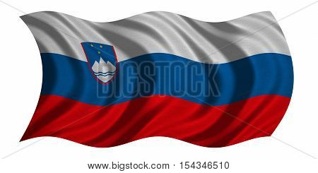 Slovenian national official flag. Patriotic symbol banner element background. Correct colors. Flag of Slovenia with real detailed fabric texture wavy isolated on white 3D illustration