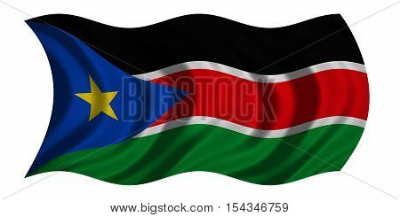 South Sudanese national official flag. African patriotic symbol banner element background. Correct colors. Flag of South Sudan with detailed fabric texture wavy isolated on white 3D illustration