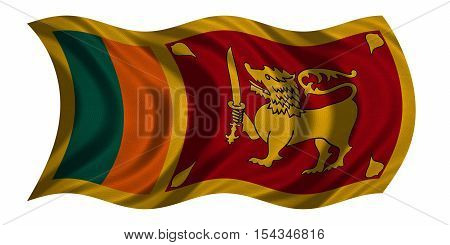 Sri Lankan national official flag. Patriotic symbol banner element background. Correct colors. Flag of Sri Lanka with real detailed fabric texture wavy isolated on white 3D illustration