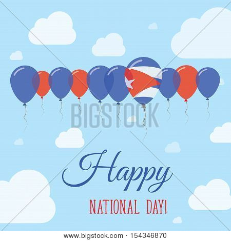 Cuba National Day Flat Patriotic Poster. Row Of Balloons In Colors Of The Cuban Flag. Happy National