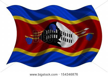 Swazi national official flag. Patriotic symbol banner element background. Correct colors. Flag of Swaziland with real detailed fabric texture wavy isolated on white 3D illustration