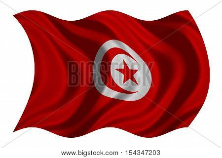 Tunisian national official flag. African patriotic symbol banner element background. Correct colors. Flag of Tunisia with real detailed fabric texture wavy isolated on white 3D illustration