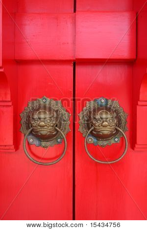 Red chinese door with lion head