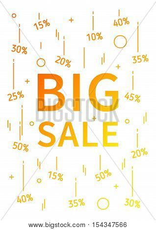 Big Sale vector banner with linear elements. Big Sale decoration poster on white background. Big Sale and discounts from 10 to 50 percent off. Design graphic concept typography illustration.