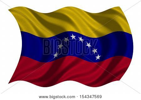 Venezuelan national official flag. Bolivarian Republic of Venezuela patriotic symbol banner element background. Correct color. Flag of Venezuela wavy isolated on white fabric texture 3D illustration