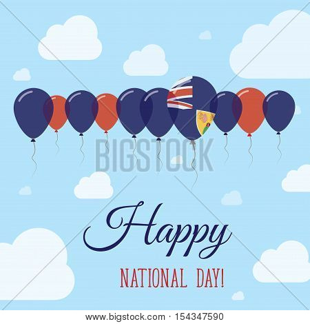 Turks And Caicos Islands National Day Flat Patriotic Poster. Row Of Balloons In Colors Of The Turks