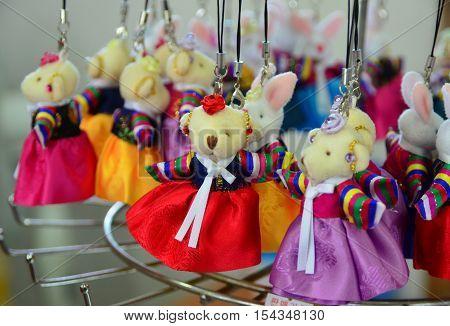 Korean teddy bear with colorful dress, keychain