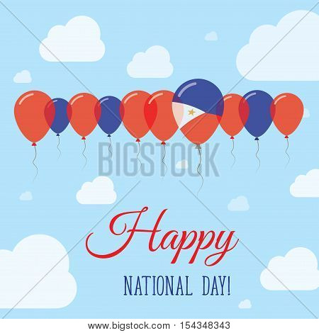 Philippines National Day Flat Patriotic Poster. Row Of Balloons In Colors Of The Filipino Flag. Happ