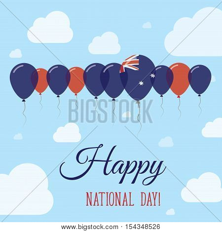 Heard And Mcdonald Islands National Day Flat Patriotic Poster. Row Of Balloons In Colors Of The Hear