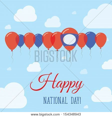 Lao People's Democratic Republic National Day Flat Patriotic Poster. Row Of Balloons In Colors Of Th