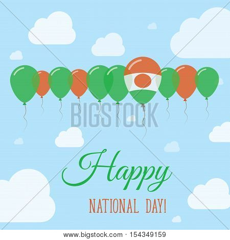Niger National Day Flat Patriotic Poster. Row Of Balloons In Colors Of The Nigerian Flag. Happy Nati