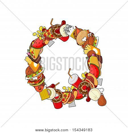 Letter Q Food. Edible Sign Alphabet From Pizza And Hamburger. Feed Template Elements Alphabet. Meat
