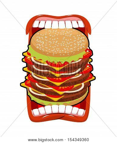 Big Hamburger Mouth. Strong Hunger. Great Burger And Open Mouth. Breaking Lips And Dislocated Jaw.