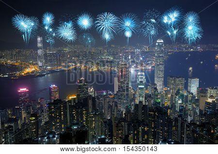 Fireworks Festival Over Hong Kong City At Night