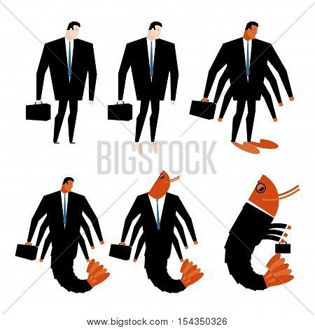 Office Plankton Transformation. Manager And Shrimp With Suitcase. Business Suit. Crustacean And Boss