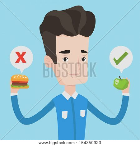 Young caucasian man holding apple and hamburger in hands. Man choosing between apple and hamburger. Man choosing between healthy and unhealthy nutrition. Vector flat design illustration. Square layout