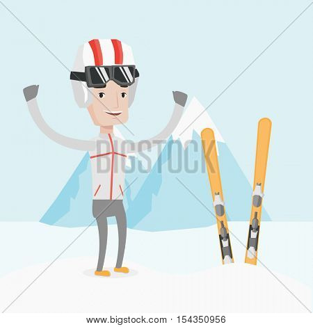 Ccaucasian sportsman standing with skis on the background of snowy mountains. Young man skiing. Cheerful skier resting in the mountains during sunny day. Vector flat design illustration. Square layout