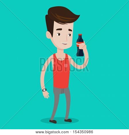 Caucasian man holding fresh soda beverage at glass bottle. Smiling young man standing with bottle of soda. Cheerful man drinking brown soda from bottle. Vector flat design illustration. Square layout.