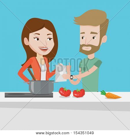 Young caucasian couple following recipe for healthy vegetable meal on digital tablet. Couple cooking healthy meal. Couple having fun cooking together. Vector flat design illustration. Square layout.