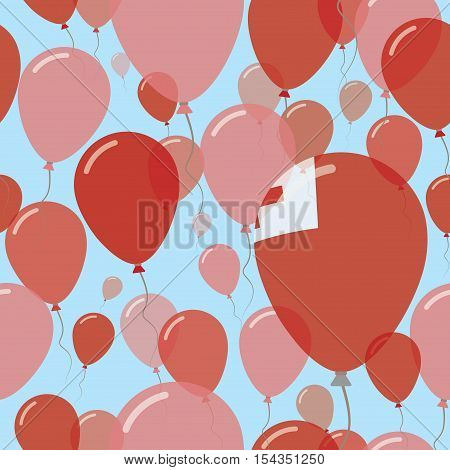 Tonga National Day Flat Seamless Pattern. Flying Celebration Balloons In Colors Of Tongan Flag. Happ