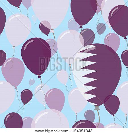 Qatar National Day Flat Seamless Pattern. Flying Celebration Balloons In Colors Of Qatari Flag. Happ