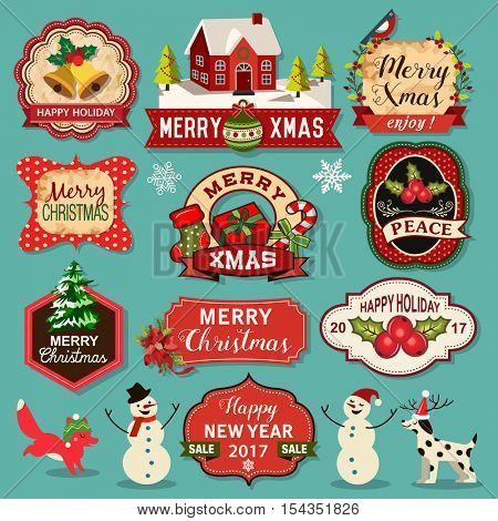 Merry Christmas decoration and design elements with vintage labels, cards and tags set.
