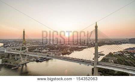 aerial view of bhumibol 2 bridge important modern landmark over chaopraya river in heart of bangkok thailand