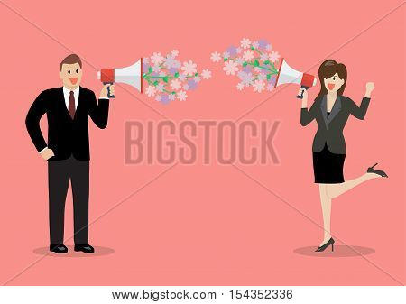Businessman and woman are holding a megaphone with flowers. flirt concept
