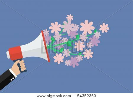 Hand holding megaphone with word special offer. Vector Illustration