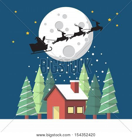 Santa Claus and his reindeer sleigh in silhouette against moon with winter house. Christmas greeting card