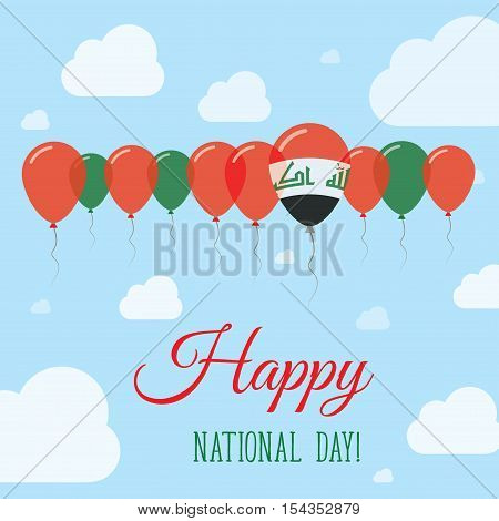 Iraq National Day Flat Patriotic Poster. Row Of Balloons In Colors Of The Iraqi Flag. Happy National
