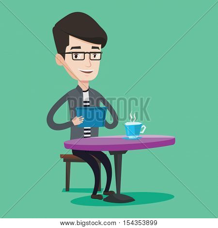 Young man using a tablet computer in a cafe. Happy man surfing in the social network. Social network concept. Man rewriting in social network in a cafe. Vector flat design illustration. Square layout.