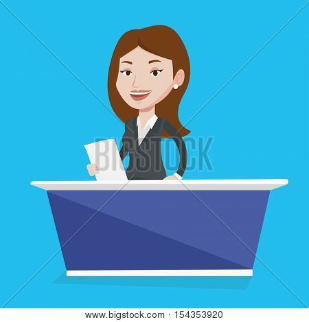 Television anchorwoman working at studio. Young caucasian television announcer at studio during live broadcasting. Tv newscaster reporting tv news. Vector flat design illustration. Square layout.