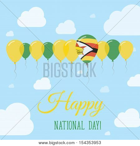 Zimbabwe National Day Flat Patriotic Poster. Row Of Balloons In Colors Of The Zimbabwean Flag. Happy