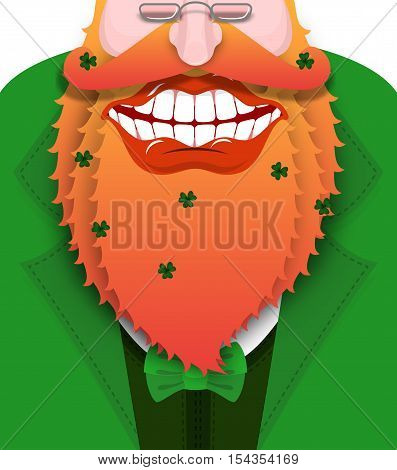 Cheerful Leprechaun With Red Beard. Good Gnome With Big Smile. Green Coat With Bow Tie. Illustration