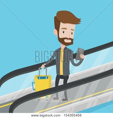 Man using smartphone on escalator in airport. Traveling man standing on escalator with suitcase and looking at mobile phone. Man going down on escalator. Vector flat design illustration. Square layout