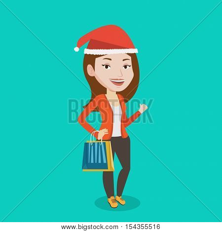 Woman in santa hat holding shopping bags. Caucasian woman carrying shopping bags. Girl with a lot of shopping bags. Girl shopping for christmas gifts. Vector flat design illustration. Square layout