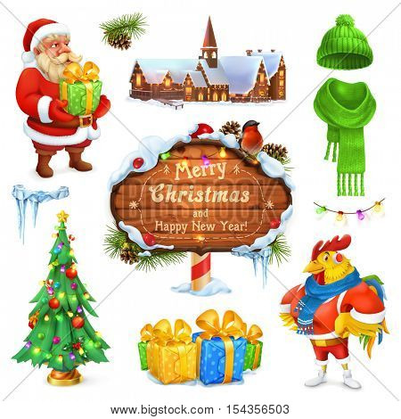 Merry Christmas and Happy New Year. Santa Claus. Christmas tree. Wooden sign. Gift box. Winter knitted hat. 3d vector icon set