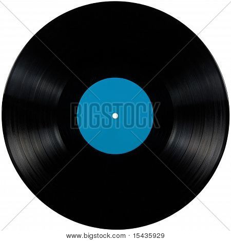 Black Vinyl Lp Album Disc, Isolated Long Play Disk With Blank Label In Cyan Blue