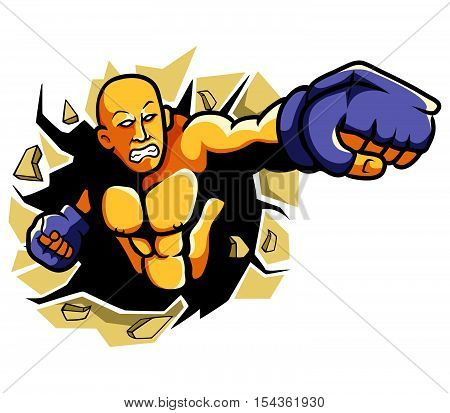 vector illustration of a boxer throw a punch.