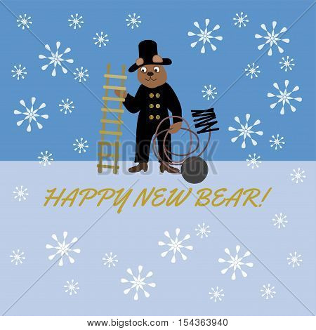 Bear in chimney-sweepers clothes with a ladder, brush and balls with the words Happy New Bear, pun.