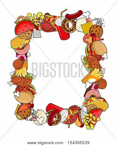 Food Frame. Background Of Feed. Edible Cadre. Pizza And Tacos. French Fries And Hamburger. Hotdog An