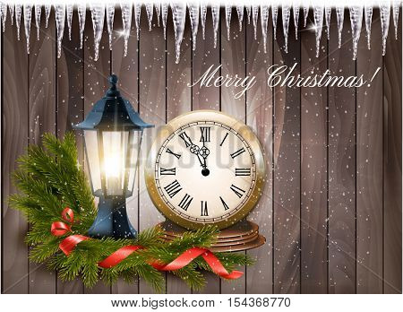 Christmas background with a lantern and clock and gift ribbon Vector.