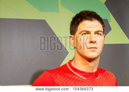 BANGKOK THAILAND - DECEMBER 19: Wax figure of the famous Steven George Gerrard from Madame Tussauds on December 19 2015 in Bangkok Thailand