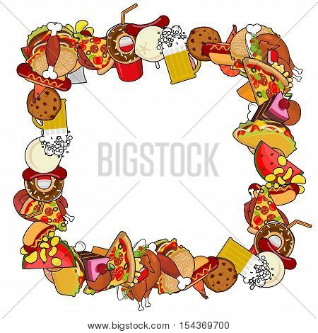 Fast Food Frame. Background Of Feed. Edible Cadre. Pizza And Tacos. French Fries And Hamburger. Hotd